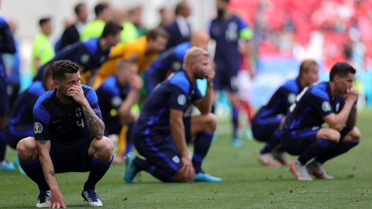 finland players were in distress after denmark's christian eriken collapsed