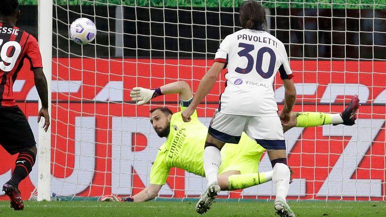 gianluigi donnarumma helped ac milan during a goalless draw