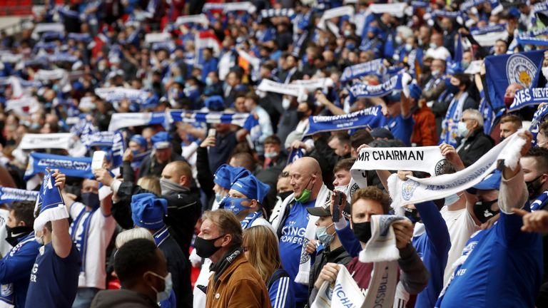 there were 21,000 fans at the fa cup win when leicester beat chelsea earlier in may
