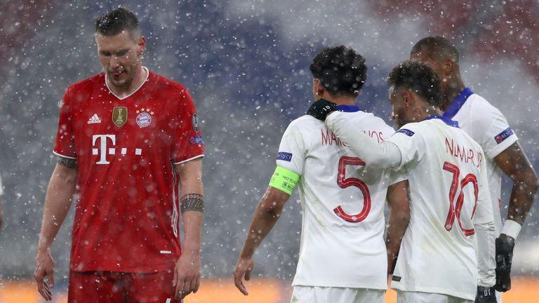 marquinhos celebrates scoring for psg against bayern munich