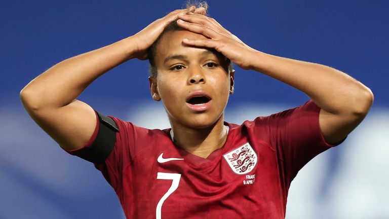 nikita parris reacts after a miss in the first half