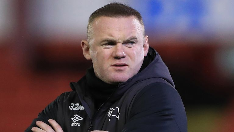 derby county manager wayne rooney before the sky bet championship match at oakwell, barnsley. picture date: wednesday march 10, 2021 (pa)