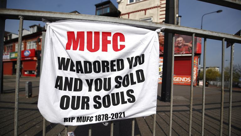 european super league reaction  a banner left by manchester united fans objecting to the clubs decision to join the european super league, sir matt busby way, manchester. picture date: tuesday april 20, 2021.